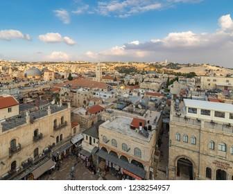 Jerusalem, Israel - 12 November, 2018: A view of the Old City of Jerusalem.