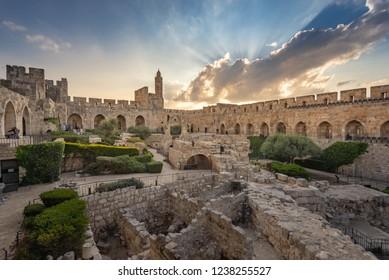 Jerusalem, Israel - 12 November, 2018: The Tower of David in the old city of Jerusalem