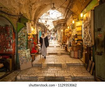 Jerusalem, Israel - 13 June, 2018: The Arab Market in the Old City of Jerusalem.