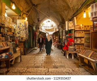 Jerusalem, Israel - 13 June, 2018: The Arab Market in the Old City of Jerusalem.