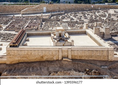 JERUSALEM ISRAEL 15 September 2017: The City of David A model in the Israel Museum Israel. This 50:1 scale model, covering nearly one acre, evokes ancient Jerusalem at its peak
