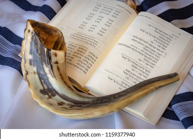 Jerusalem, Israel - 16 August, 2018: The Shofar (rams horn) is used to blow sounds on Rosh HaShana (the Jewish New Year) and Yom Kippurim (day of Atonement)