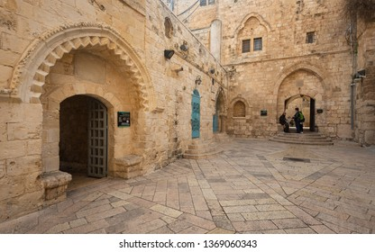 Jerusalem, Israel - 16 December, 2018: The entrance to the room of the last supper.