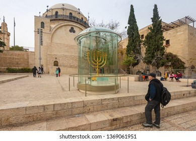 Jerusalem, Israel - 16 December, 2018: A replica of the Menorah which stood in the Ancient Jewish Temple.