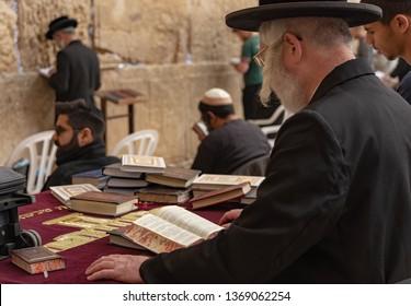 Jerusalem, Israel - 16 December, 2018: An orthodox Jew praying at the Western Wall.
