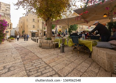 Jerusalem, Israel - 16 December, 2018: An outdoor Cafe in the Jewish Quarter in the Old City