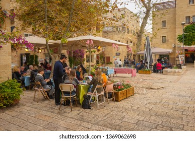 Jerusalem, Israel - 16 December, 2018: An outdoor Cafe in the Jewish Quarter in the Old City.