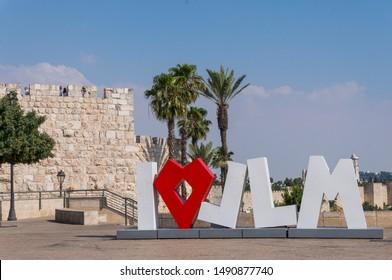 Jerusalem, Israel - 17 June 2019: I love Jerusalem sign in old town of Jerusalem, Israel