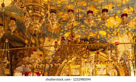 JERUSALEM, ISRAEL - 18 OCTOBER, 2018: Ceiling of the hall of the Golgotha altar in the Church of the Holy Sepulchre in Jerusalem, Israel on 18 October, 2018.