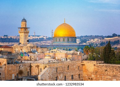JERUSALEM, ISRAEL - 18 OCTOBER, 2018: The Temple Mount - Western Wall and the golden Dome of the Rock mosque in the old town of Jerusalem, Israel