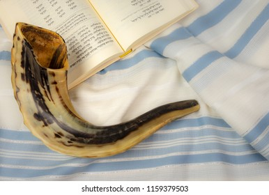 Jerusalem, Israel - 19 August, 2018: The Shofar (rams horn) is used to blow sounds on Rosh HaShana (the Jewish New Year) and Yom Kippurim (day of Atonement)