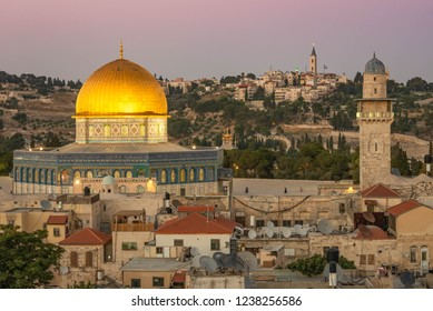 Jerusalem, Israel - 2 July, 2018: The Dome of the Rock in the Old City of Jerusalem