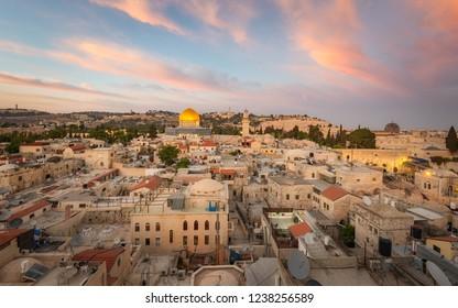 Jerusalem, Israel - 2 July, 2018: A view of the old city of Jerusalem at sunset