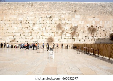 JERUSALEM, ISRAEL - 2014 MARCH 5 :  View of Western Wall in the Jewish quarter