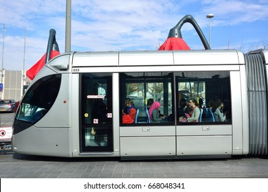 JERUSALEM, ISRAEL - 2017 APRIL 22 : The Jerusalem tram at Machane Yehuda's jewish market stop