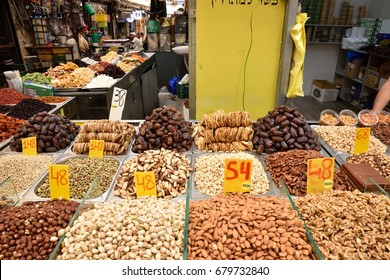 JERUSALEM, ISRAEL - 2017 JULY 10 : seed and dry fruit in the market of Mahane Yehuda in Jerusalem