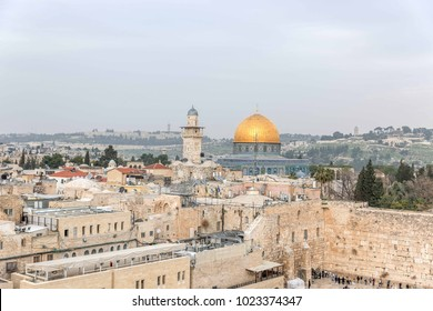 JERUSALEM, ISRAEL - 2018 FEBRUARY 11 : View from the Jewish Quarter of the Western wall and the Al Aqsa Mosque Dome of the rock