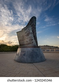 Jerusalem, Israel - 2018-11-19: The  first and only memorial outside of the USA (as of date photo taken) commemorating the September 11, 2001 Islamic terror attacks. Designed by Eliezer Weishoff.