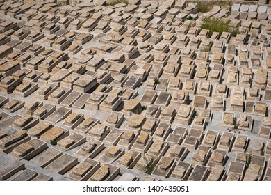 Jerusalem, Israel - 2019-05-09: An arial view of the ancient Jewish cemetary at the Mount of Olives.