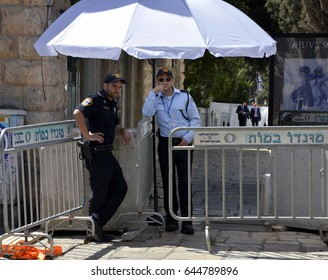 Jerusalem, Israel, 22 May 2017, Security Checkpoint near the King David Hotel, Jerusalem. The area was completely closed off from 11:00 am onward.