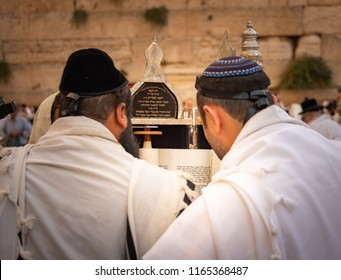 Jerusalem, Israel - 23 August, 2018: Jewish worshipers during morning prayers at the Western Wall
