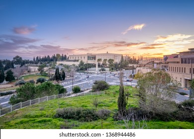 Jerusalem, Israel - 23-1-2019: A view of the Supreme Court at sunset