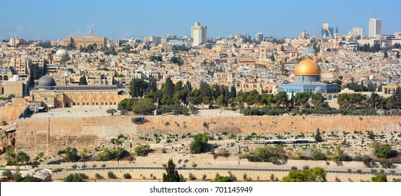 JERUSALEM ISRAEL 25 11 16: Panoramic view of Al-Aqsa Mosque, Jerusalem Old city and the Temple Mount, Dome of the Rock and Al Aqsa Mosque from the Mount of Olives in Jerusalem, Israel,