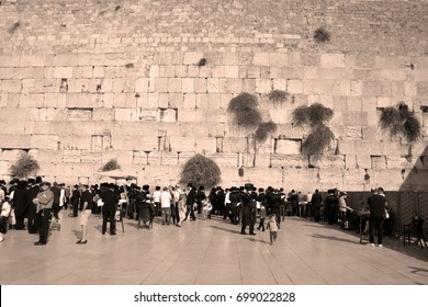 JERUSALEM ISRAEL 26 10 16: Jewish hasidic pray at the Western Wall, Wailing Wall the Place of Weeping is an ancient limestone wall in the Old City of Jerusalem. Second Jewish Temple by Herod the Great