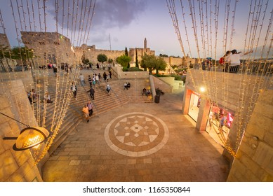 Jerusalem, Israel - 26 August, 2018: The Entrance to Mamilla mall from Jaffa Gate on the outskirts of the old city of Jerusalem