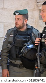 JERUSALEM ISRAEL 28 10 2016: Portrait of Israel Defense Forces downtowm Jerusalem, commonly known in Israel by the Hebrew acronym Tzahal are the military forces of the State of Israel.
