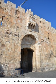 JERUSALEM, ISRAEL 28 10 2016: The Lions Gate is the start point of the Via Dolorosa, the last walk of Jesus from prison to crucifixion.