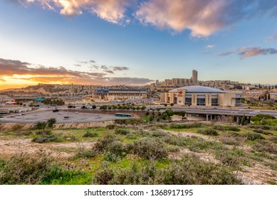 Jerusalem, Israel - 3 January, 2019: A view of the Pais Basketball arena and Teddy Football Stadium.