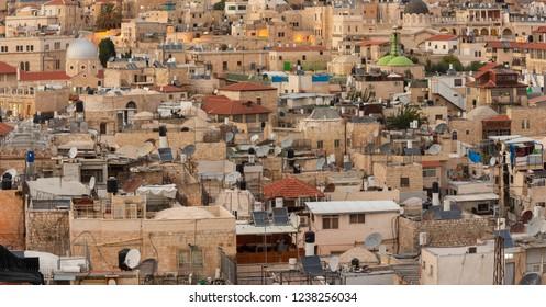 Jerusalem, Israel - 6 November, 2018: A few of the old city of Jerusalem arab quarter