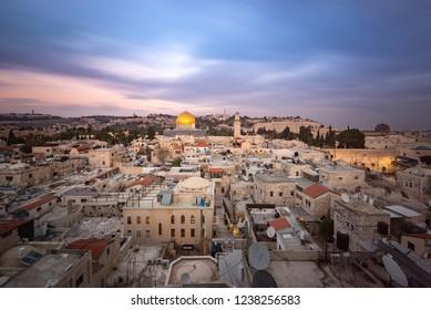 Jerusalem, Israel - 6 November, 2018: A few of the old city of Jerusalem at sunset