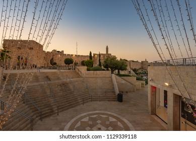 Jerusalem, Israel - 8 June, 2018: Mamilla Mall near Jaffa Gate shortly before sunrise.