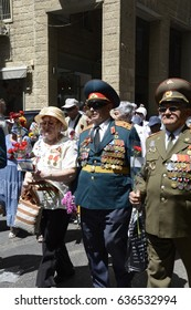 Jerusalem, Israel, 9 May 2017 - Soviet Army Veterans and Their Families Participate in the Commemoration of the 72nd Anniversary of Victory over Nazi Germany