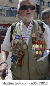 Jerusalem, Israel, 9 May 2017 - Soviet Army Veteran Wearing His Medals in Commemoration of the 72nd Anniversary of Victory over Nazi Germany