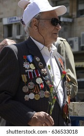 Jerusalem, Israel, 9 May 2017 - Soviet Army Veteran, Wearing His Medals, Participates in the Commemoration of the 72nd Anniversary of Victory over Nazi Germany