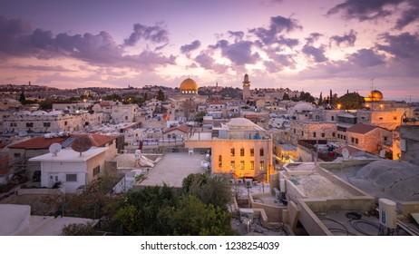 Jerusalem, Israel - 9 November, 2018: The Old City at dawn