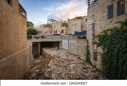 Jerusalem, Israel - 9 November, 2018: Remnants of a wall from the First Temple era in the old city of Jerusalem
