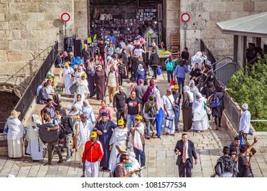 JERUSALEM, ISRAEL - APRIL 05, 2018: People in front of Damascus Gate in Jerusalem.