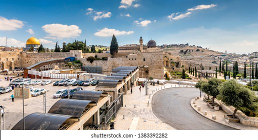 Jerusalem, Israel - April 10, 2019: View on Al-Aqsa Mosque, Western Wall and Mount of Olives from old Jerusalem, Israel