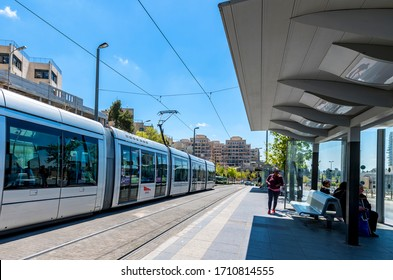 Jerusalem, Israel - April 10, 2019: Light rail or tramcar in a street of Jerusalem - the capital of Israel and major tourist sacred place in the Middle East and in all around of the world