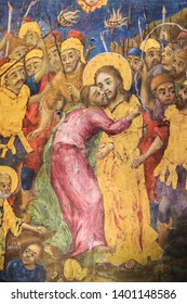 Jerusalem, Israel - April 17, 2019: Greek Orthodox Fresco in the Church of the Holy Sepulchre in Jerusalem, depicting Judas Iscariot betraying Jesus with a kiss