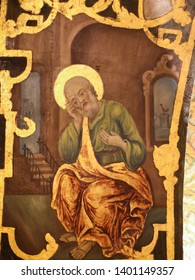 Jerusalem, Israel - April 17, 2019: Greek Orthodox Fresco in the Church of the Holy Sepulchre in Jerusalem, depicting the Denial and Repentance of Saint Peter, with the cock crowing in the background.