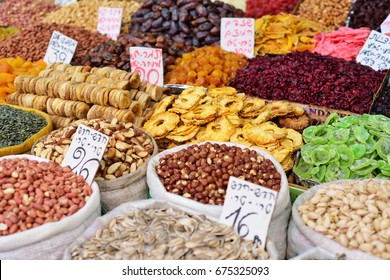 JERUSALEM, ISRAEL - APRIL 2017 Large sacks of spices and seeds, dried fruits in Market - Mahane Yehuda in Jerusalem, Israel