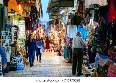 JERUSALEM, ISRAEL - APRIL 2017: Oriental market in old Jerusalem offers variety of middle east products and souvenirs. Market is very popular with tourists visiting city in Jerusalem, Israel
