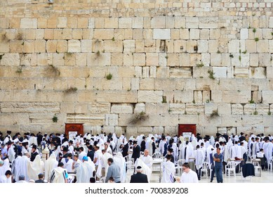 JERUSALEM, ISRAEL - APRIL 2017:  The Western wall or Wailing wall is the holiest place to Judaism in the old city of Jerusalem, Israel.