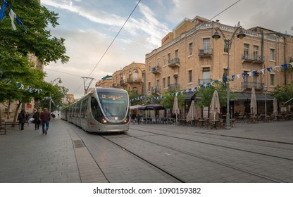 Jerusalem, Israel - April 25, 2018: The light train going down Jaffa Street. This location is one of the most popular places to visit in Jerusalem