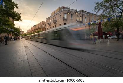 Jerusalem, Israel - April 25, 2018: The light train traveling down Jaffa Street